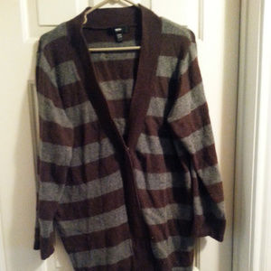 Mossimo size 24/26 brown and gray striped cardigan